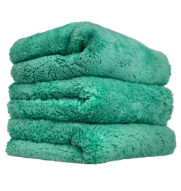 Chemical Guys Happy Ending Edgeless Microfiber Towel Green- (3 Pack)