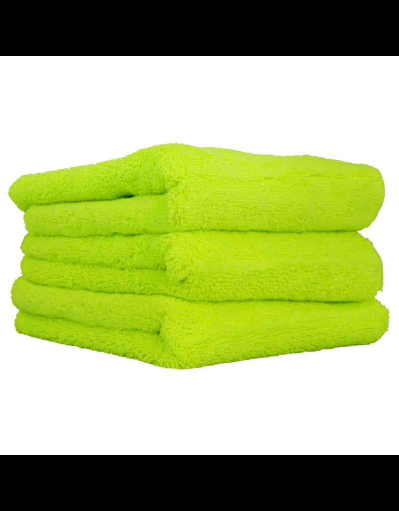 Chemical Guys El Gordo -Professional Fat Lime Green Microfiber 70/30 Thick Supra Microfiber Towels 16.5 X 16.5 (3 Pack)