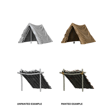 Pathfinder Battles Unpainted Minis - Tent and Lean-to