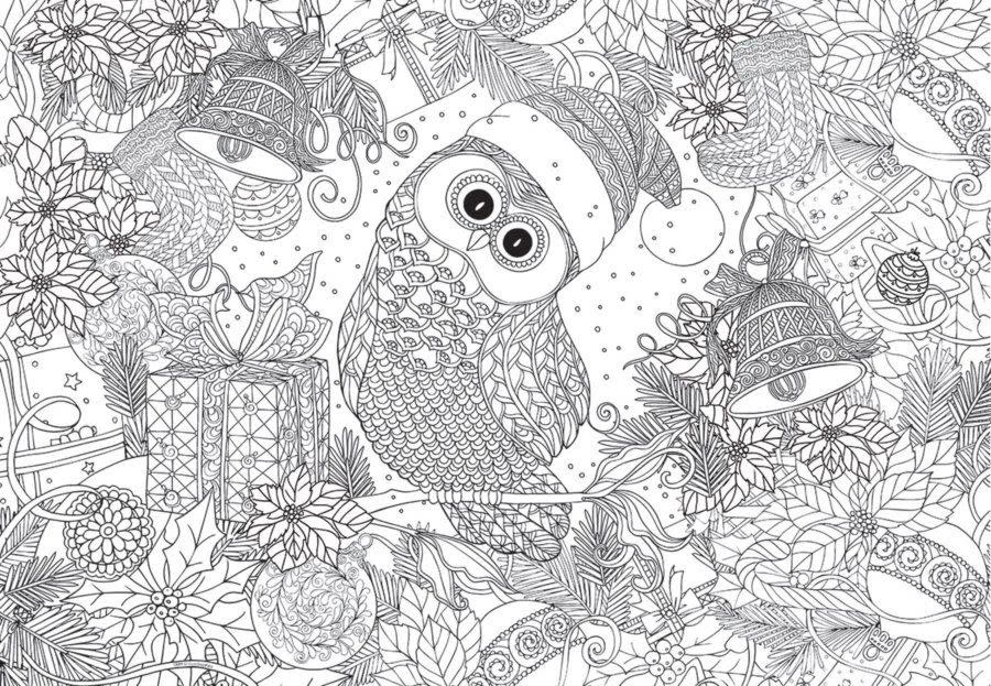 300 - Holly Jolly Owl - Color-Me Puzzle