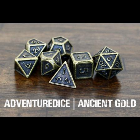 Metal RPG Dice Set - Ancient Gold