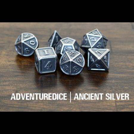 Metal RPG Dice Set - Ancient Silver