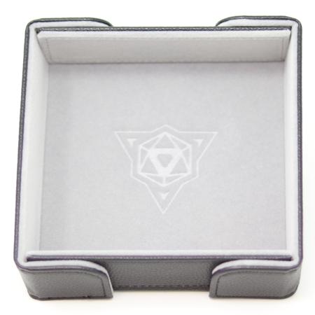 Folding Magnetic Square Dice Tray w/ Gray Velvet