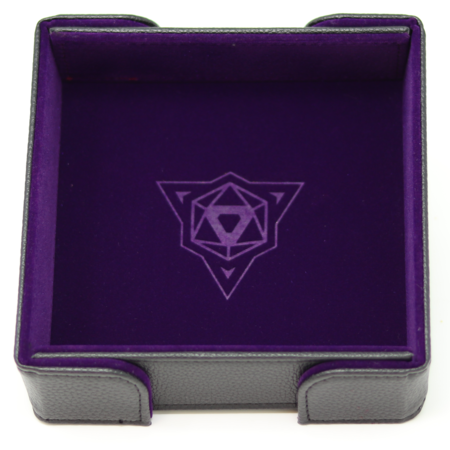 Folding Magnetic Square Dice Tray w/ Purple Velvet