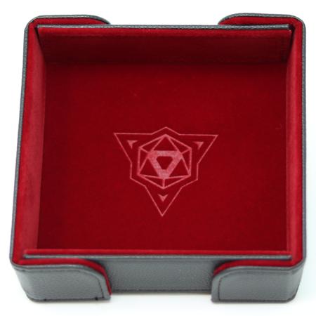 Folding Magnetic Square Dice Tray w/ Red Velvet