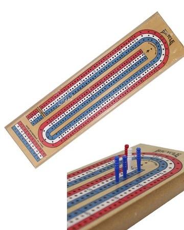 3-Track Cribbage Board - Pine R/W/B