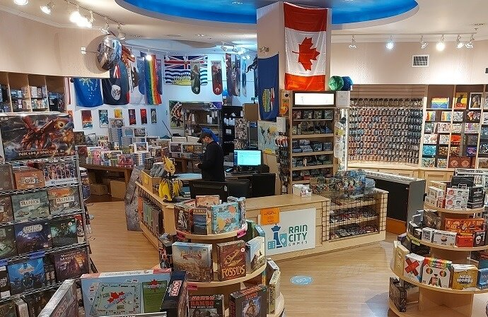 Eagle eye view of the Rain City Games Vancouver store