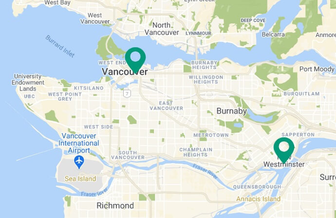 Map of Rain City Games locations in Vancouver and New Westminster