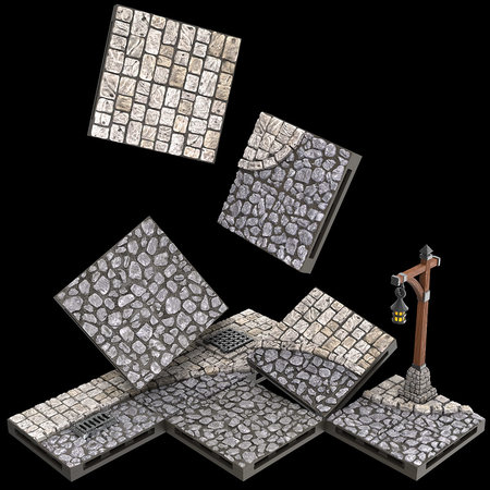 WarLock Tiles: Town  Square - Town & Village
