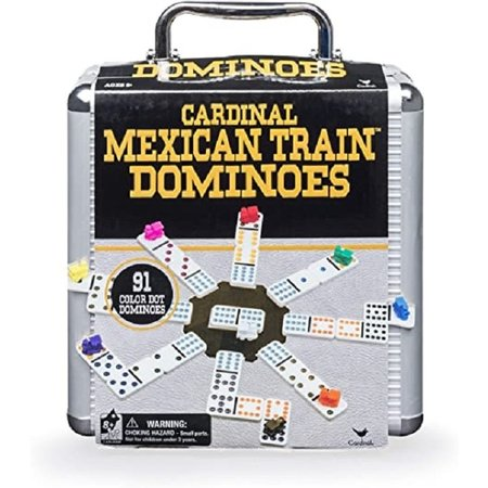 Mexican Train Dominoes - Double Twelve with Black and Gold Case