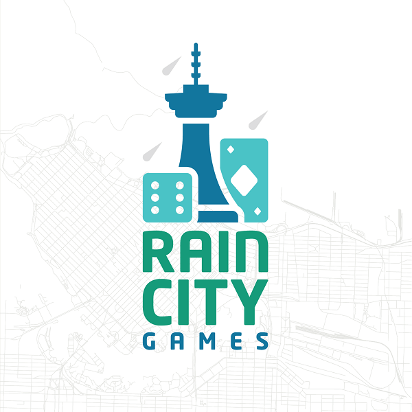Rain City Games logo over a map of Vancouver, BC