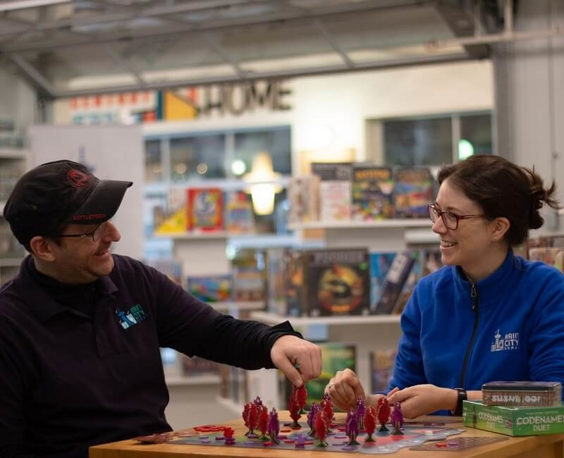 Channing and Andrea, the owners of Rain City Games