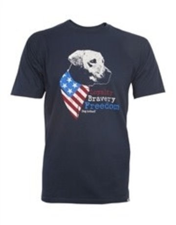 Dog is Good Loyalty Bravery Freedom navy blue unisex t-shirt