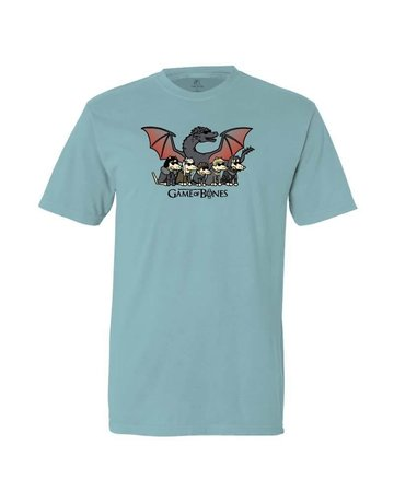 Teddy the Dog Game of Bones ice blue unisex t-shirt