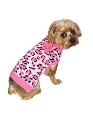Dallas Dogs Lovin' Leopard Dog Sweater Pink