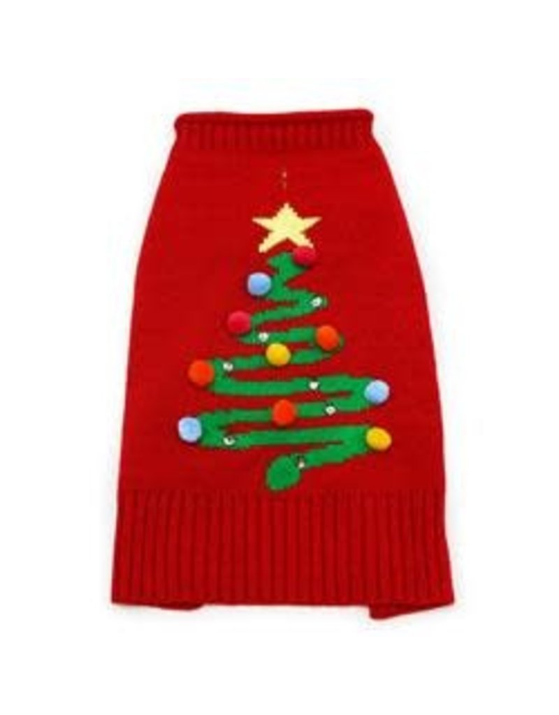 DOGO Pet Fashions Christmas Tree Sweater Red