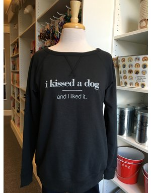 Womens I Kissed a Dog Sweatshirt - black