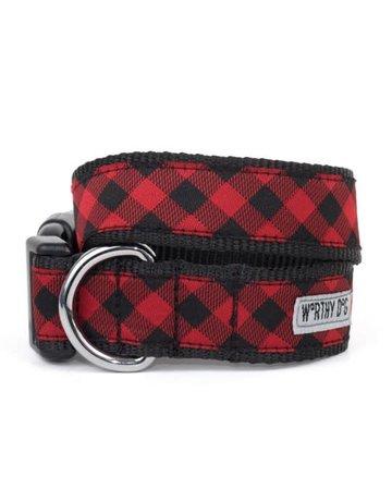The Worthy Dog Buffalo Plaid Red collar