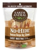 "Earth Animal No-Hide Venison Chews 4"", 2 Pack"