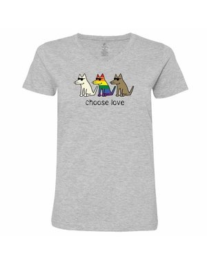 Teddy the Dog Women's Choose Love v-neck t-shirt - athletic grey