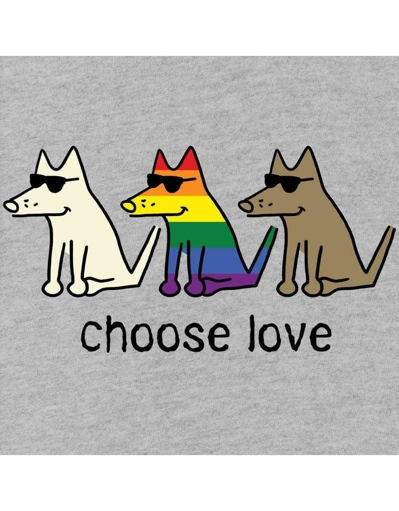Teddy the Dog Women's Choose Love v-neck t-shirt - athletic grey
