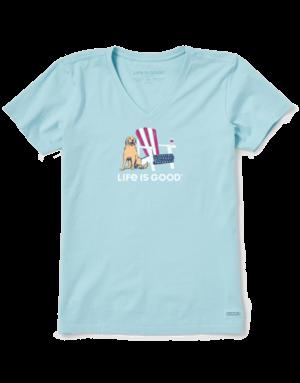 Life Is Good Womens LIG American Adirondack short-sleeved t-shirt - beach blue