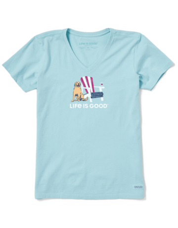 Life Is Good Womens LIG American Adirondack short-sleeved t-shirt - beach blue
