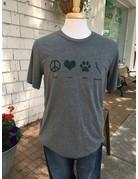Peace Love Paws Skaneateles t-shirt - deep heather