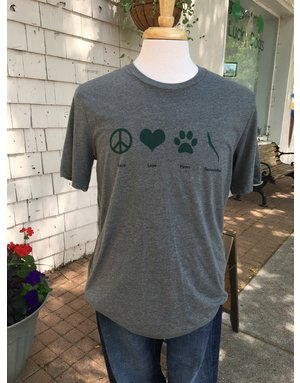 Peace Love Paws Skaneateles t-shirt - deep heather