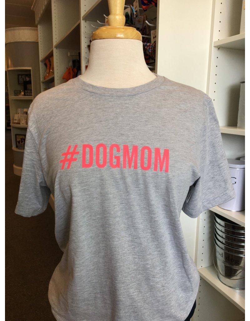 Womens #DOGMOM t-shirt - athletic grey