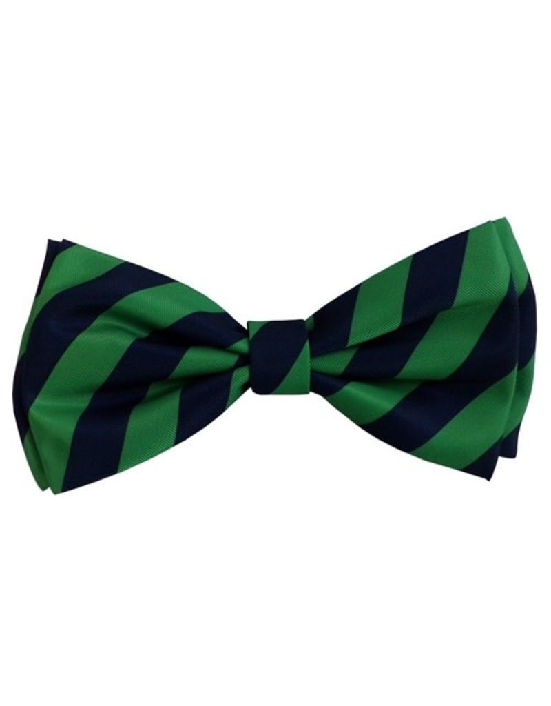 Huxley & Kent Harvey Navy & Green Stripe bow tie