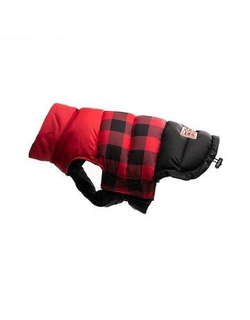 fabdog Red Buffalo Check Color Block Puffer
