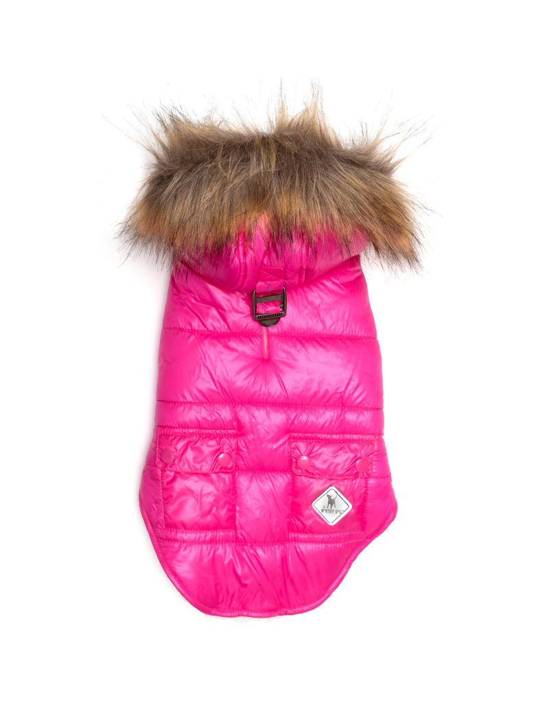 The Worthy Dog Telluride Puffer Hoodie - Hot Pink