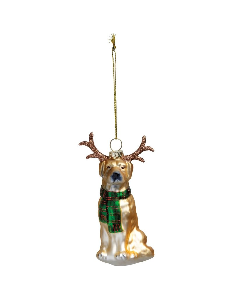 glass ornament: Dog & Antlers