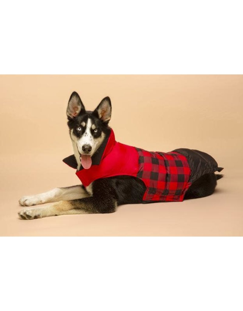 fabdog Red Buffalo Check Color Block Puffer