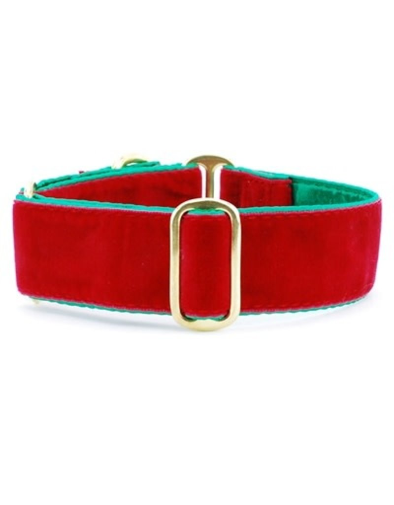 2 Hounds Design Holiday Velvet collar - Red