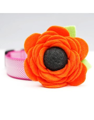 Mimi Green Poppy Dog Collar Flower