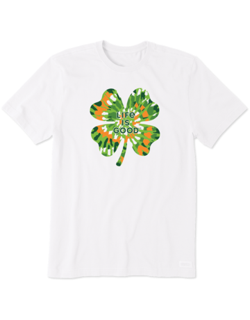 Life Is Good Women's LIG Tie-Dye Shamrock t-shirt - white