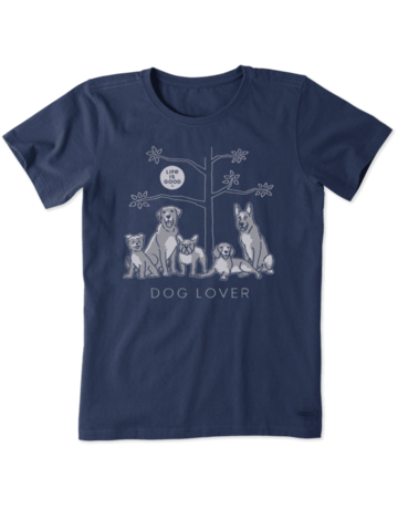 Life Is Good Womens LIG Dog Lover t-shirt - dusty blue