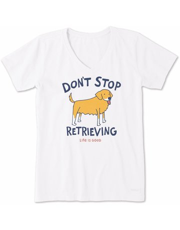 Life Is Good Womens LIG Don't Stop Retrieving - white