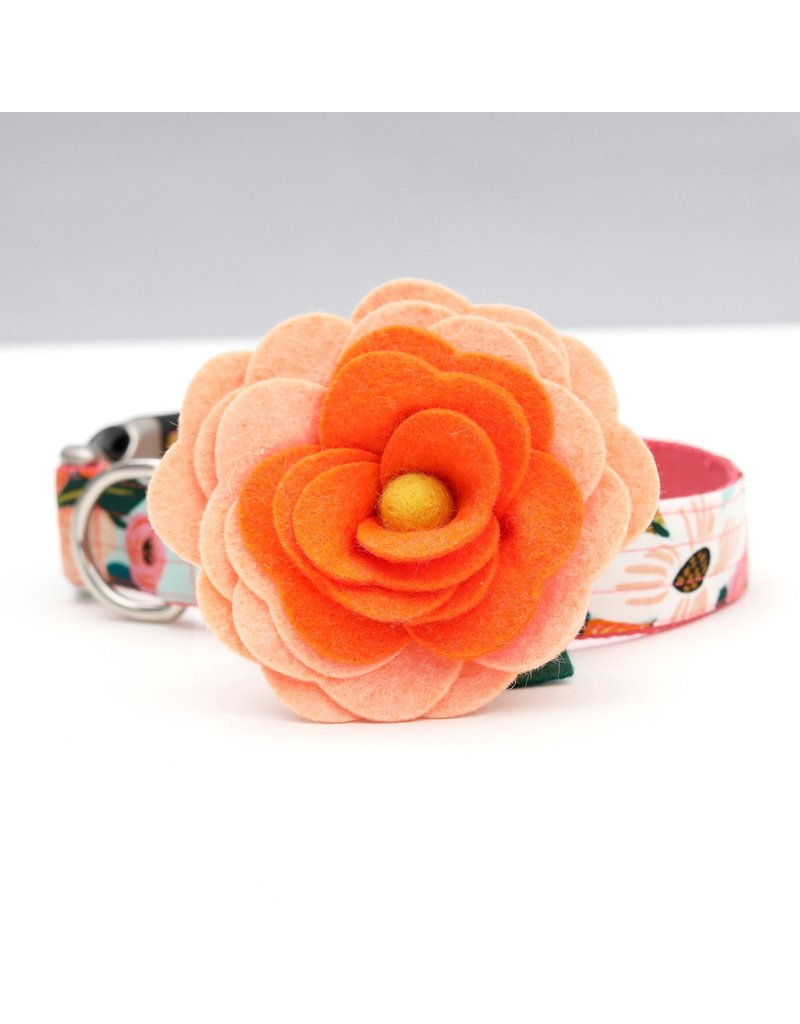 Mimi Green Dog Collar Flower: Orange Magnolia
