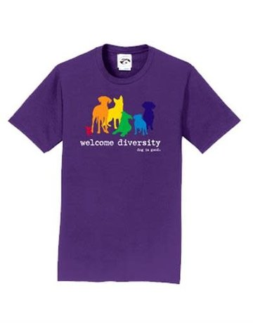 Dog is Good Welcome Diversity t-shirt - purple