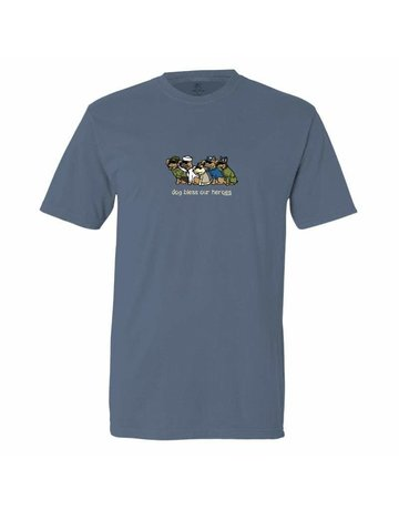 Teddy the Dog Dog Bless Our Heroes t-shirt - dusty blue