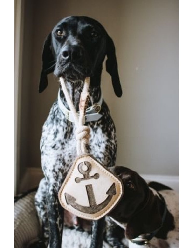"""Tall Tails Tall Tails Natural Leather Anchor Tug Toy 14"""""""