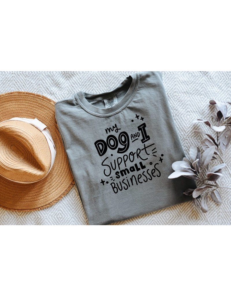 Modern Companion My Dog & I Support Small Business t-shirt - grey