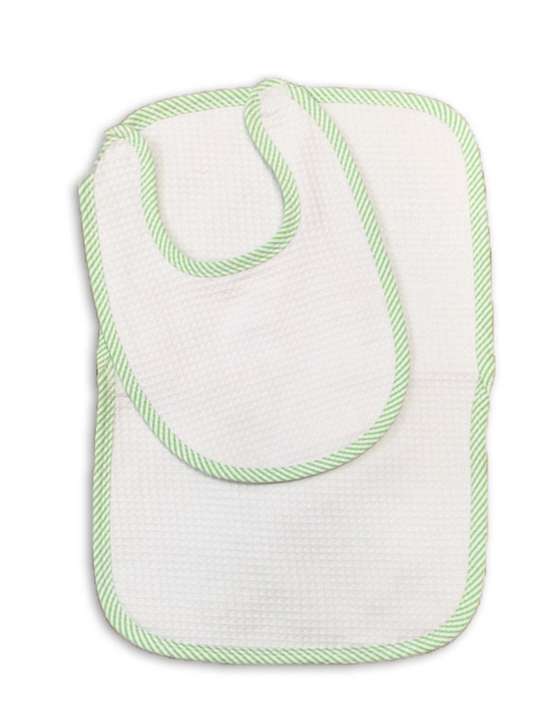 Ellie O Bib and Burp Cloth Seersucker Set