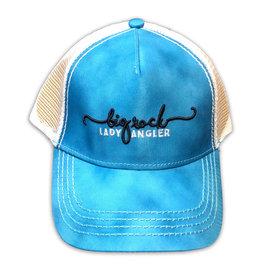Lady Angler Script Trucker Hat, Spearmint Cloud