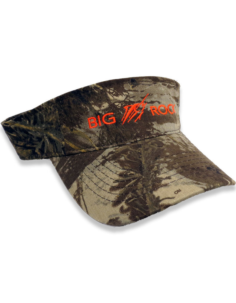 Big Rock Horizonal Streak Real Tree Camo Visor, Orange