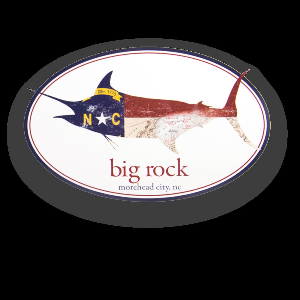NC Flag Marlin Oval Sticker