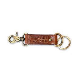 Debossed Streak Leather Keychain